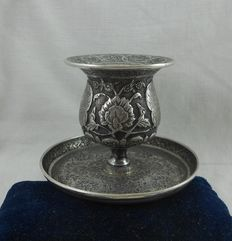 Ottoman Empire, Antique silver candlestick, Turkey,  Early 19th century