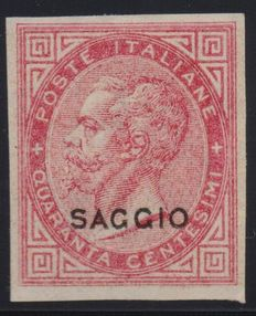 Kingdom of Italy – 1863 – De La Rue test – 40 centesimi – Pink – New – With gum and hinge, not perforated