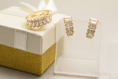 14k yellow gold earrings and ring - 7.10 grams set with cubic zirconia