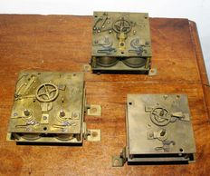 Lot of 3 antique French school clock movements – 1860 –1880