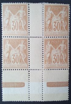 France, 1881- sage type II , block of 4 of the 30 c. brown-yellow- Yvert number 80.
