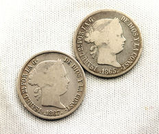 Spain - Isabel II - LOT 20 Peso cents, in silver. 1865 and 1867. Manila