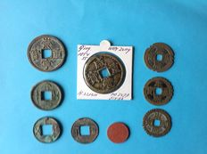 Ancient Orient - China 9 special and large collection coins From 175 BC to 1945 AD