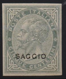 Kingdom of Italy – 1863 – De La Rue test – 5 centesimi – Green and grey – New – With gum and hinge, not perforated