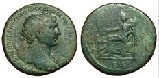 Roman Imperial - Trajan (98-117 AD ) - AE Dupondius (27 mm; 14,00 g), struck ca. 104-107 AD - Rome mint - Bust / Salus - RIC 516