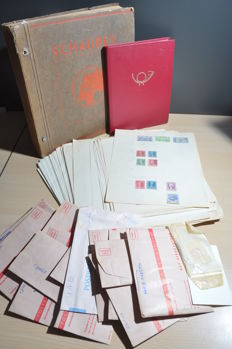 World - Batch in old Schaubek album, on album sheets, a stock book and in envelopes