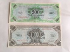 Italy - American occupation - AM Lire - 500 and 1000 lire, 1943 - Pick M22 and M23