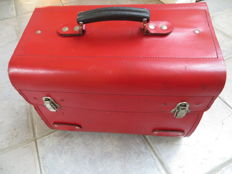 Red leather (car) tool case with storage compartments, (tool) holders and attachment loops/rings