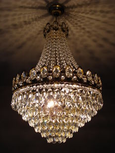 Chandelier set with cut glass crystals, second half of the 20th century, Netherlands