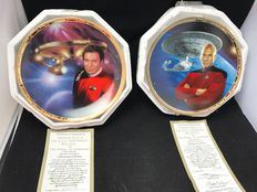 Star Trek - The Hamilton Collection - 2x plates - The Power of Command - 23k gold border - Captain Kirk and Captain Picard
