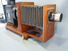 Wooden magic lantern enlarger by William Butcher and Sons Ltd