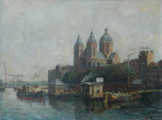 Unknown artist (20th century) - Impressionistic city view of Amsterdam (view on the Sint-Nicolaaskerk)