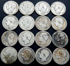 Spain – Alfonso XIII – Lot of 16   one-peseta silver coins, years 1883 and 1885