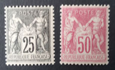 France 1886-1900 – Selection of 2 stamps, sage type – Yvert No. 97 and 104