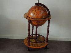 Large Bar globe with coloured map with images of the 16th century