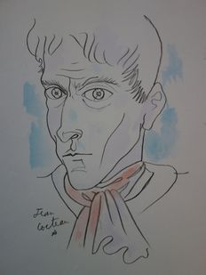 Jean Cocteau (inspired by) - self-portrait with a scarf