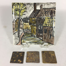 Lea Halpern - rare hand painted tile and 3 tiles on which glazes have been tested.