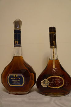 Two Old Cognac Meukow Bottles: Meukow Diamond and Meukow Napoléon,  Bottled 1980s.