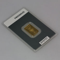 Heraeus gold bullion, 5 grams - 999 fine gold - safely packaged in blister