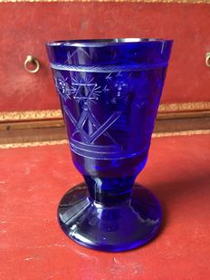 A cobalt blue masonic glass