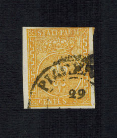 Italy Parma 1853-5 cents yellow used - Cat. Sassone catalogue value:  6a
