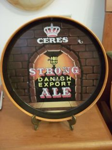 Tin sign with stand-ad for Danish beer CERES-early 1900s