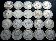 Spain – Provisional government to Alfonso XIII – Lot of 20 one-peseta silver coins from 1869 to 1904