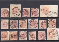 Historic States of Italy, 1850-63 – Lombardy-Venetia – Collection of cancelled stamps (76 different ones).