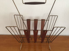 Vintage Unknown Brass and Teak Magazine Rack