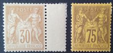 France 1881-1890 – Selection of 2 stamps, sage type – Yvert No. 80 and 99