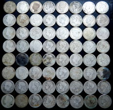 Spain – Alfonso XIII – Lot of 64   one-peseta silver coins, years 1896, 1899, 1900, 1901 and 1902