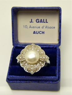 Freshwater button pearl 28 diamonds 925 silver ring  - Size 57or 18.25