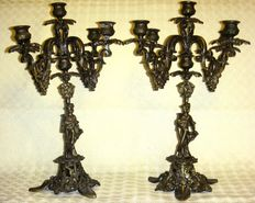 Huge antique candelabra, made of solid bronze - 7 kg both - 5 flames each -  Italy, end of the 19th C