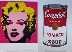 Andy Warhol (after) - Dollar Sign, Marilyn Monroe (hot pink) and Campbells,s Soup I (tomato can)