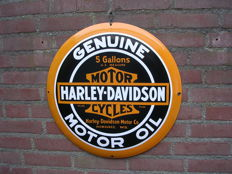 Large round enamel sign-Harley Davidson Genuine oil-50 cm diameter-late 20th century