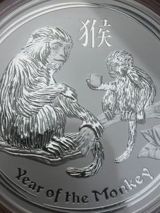 "Australia - 8 dollars 2016 ""Year of the Monkey"" 5oz silver"