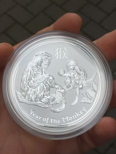 Australia – 8 dollars 2016 'Year of the Monkey' 5oz silver