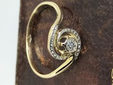 18k diamond crossover gold ring size 52