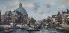 G.J. Smits (1823 - 1919) - Amsterdam with the Lutheran church