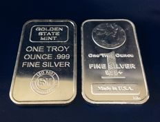 U.S.A - 2 items silver bars, 2 x 1 oz.999, Golden State Mint & Highland Mint Walking Liberty Design