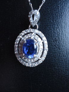 18 Kt White Gold Pendant and necklass with 2.35 Carats of  Blue Tanzanite and Diamonds -  Unworn