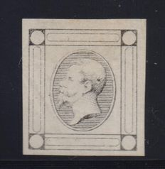 Kingdom of Italy, 1863 - Proofs- Francesco Matraire I - 15 cents - Lithographic - Colour: Greyish black - No captions - No value - With small scrolls on white paper - Thin - no filigree - No perforation - No gum.