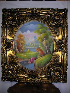 "Large oil painting ""Seelandschaft"" (Seascape) in ornamental frame."