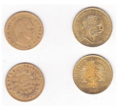 France and Austria – Lot of 2 coins – 10 francs 1856-1892