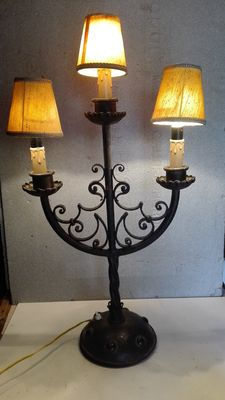 Wrought iron lamp with three lights