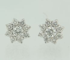 18k white gold entourage ear studs set with 18 brilliant cut diamonds