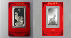 Switzerland - Pamp Suisse - 2 x 1 oz 999 silver bullion lunar year of the Rooster 2017 + lunar year of the goat 2015