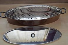 Richard Sapper for Alessi - 'La Cintura di Orione' fish kettle pan, in steel and new copper.