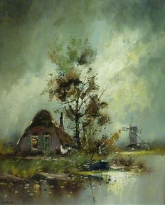 Van Dijck (20th century - landscape with mill and house by the water