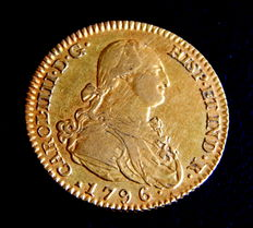 Spain –  Carlos IV –  Doubloon of 2 Escudos, 1796, Madrid MF –  Gold